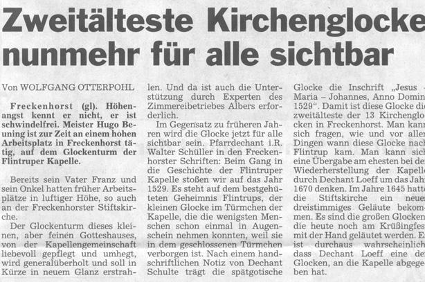 """Zeitungsbericht aus """" Die Glocke"""" Herbst 2002"""